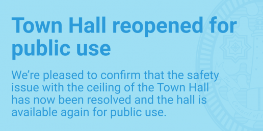 Town hall reopened for public use