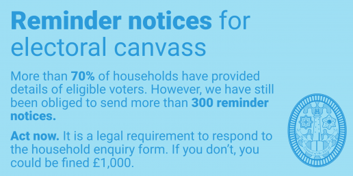 Reminder notices for electoral canvass