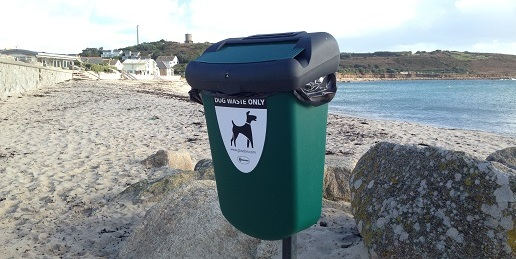 Dog faeces waste bin Porthcressa Scilly